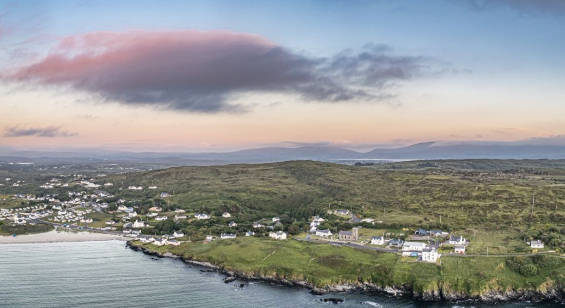 Aerial view of a Donegal town's coastline.