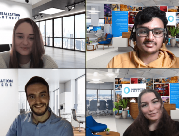 The four Globalization Partners' interns appearing on Zoom in their individual locations.