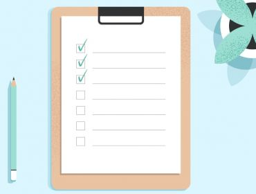 A clipboard with a lines and checkboxes in a list. Three boxes are ticked. There's a pencil and a plant either side of the clipboard against a blue background.