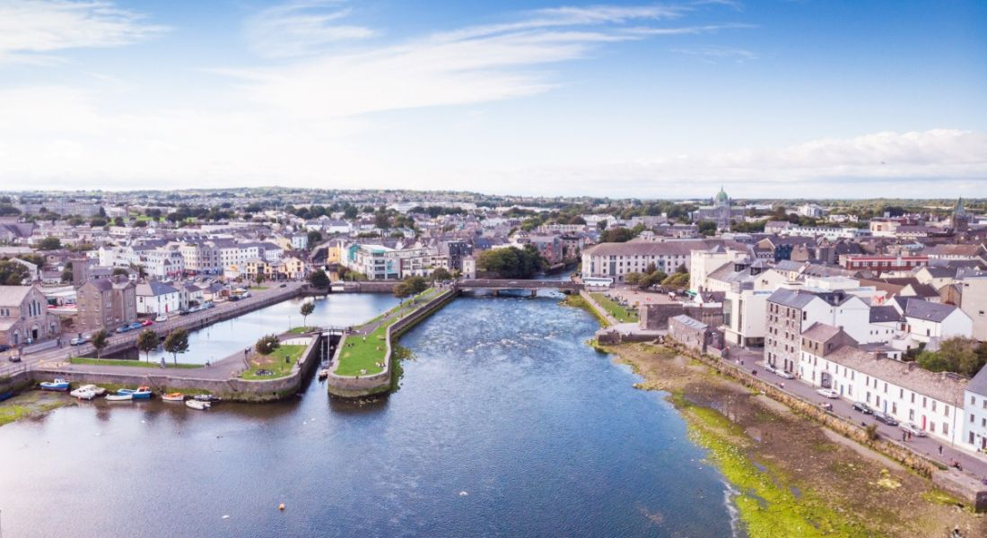 Aerial view of the River Corrib in Galway, the city in which Globalization Partners will be hiring.