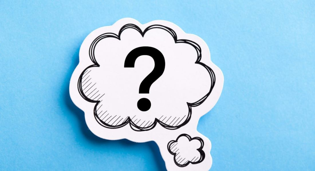 A cartoon question mark in a thought bubble against a blue background.