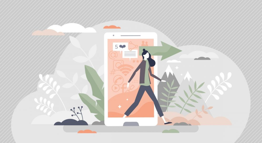 Illustration of a smartphone serving up notifications as its owner walks away into nature.