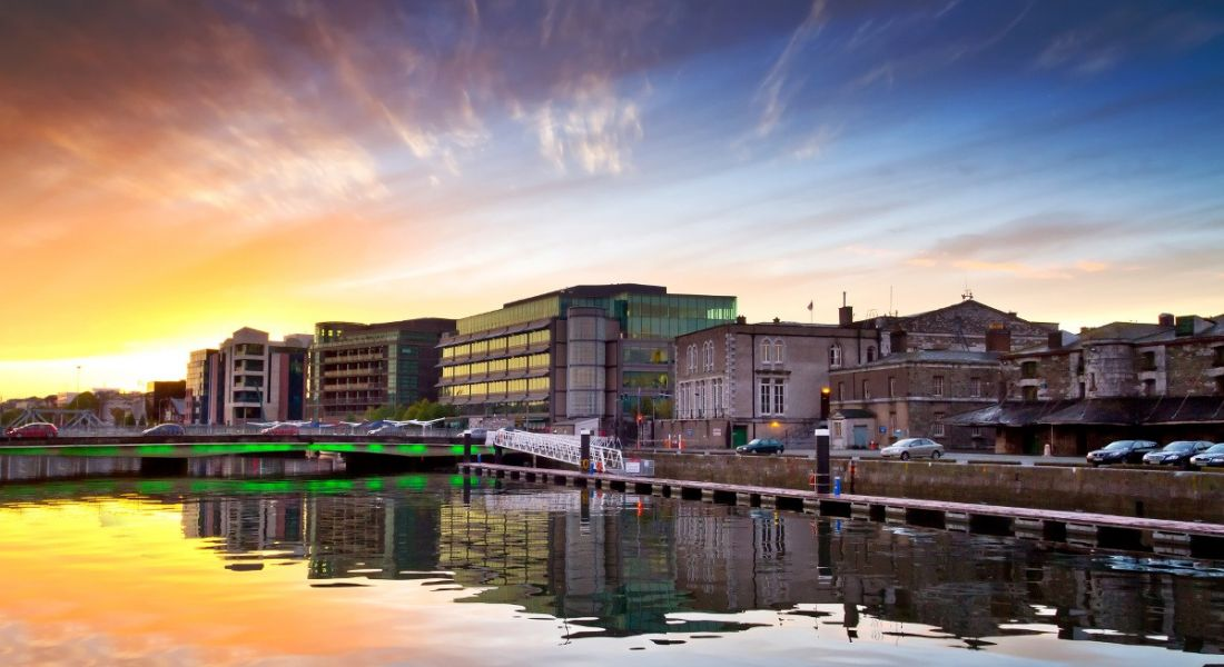 Photograph of Cork city and the river Lee at sunset.