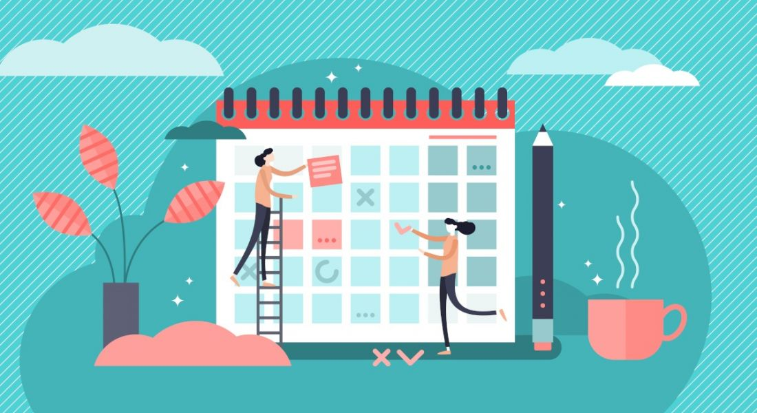 Illustration of women adding plans to a giant calendar.