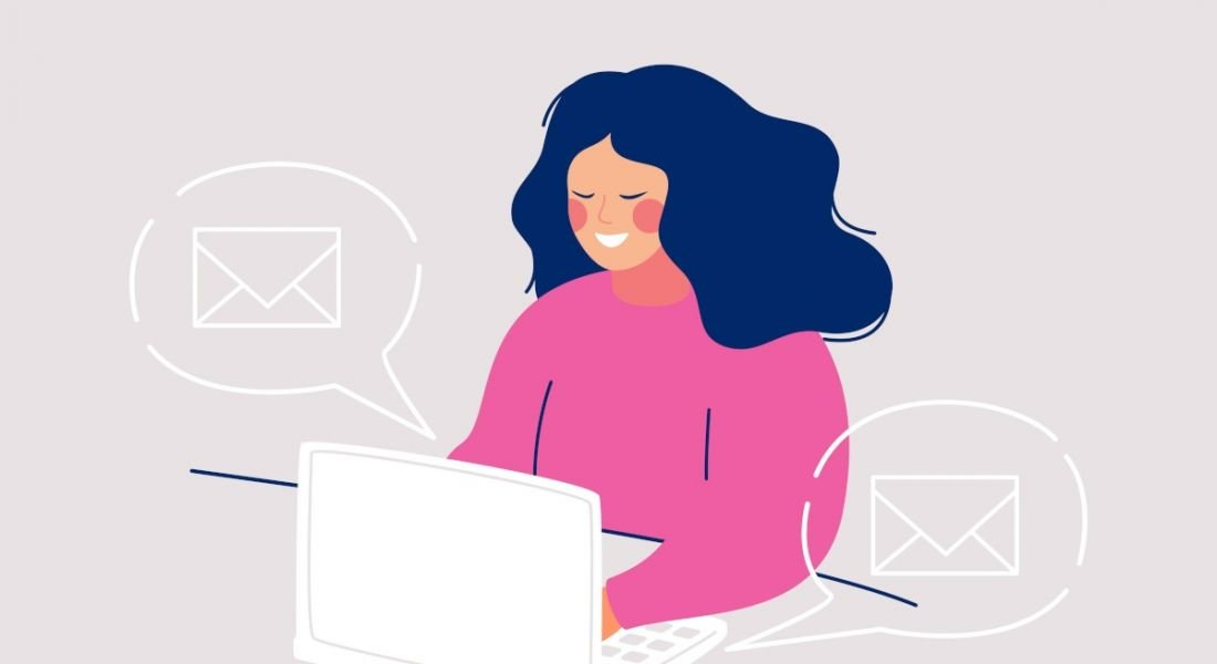 Illustration of a woman sitting at her laptop and smiling, writing an email.