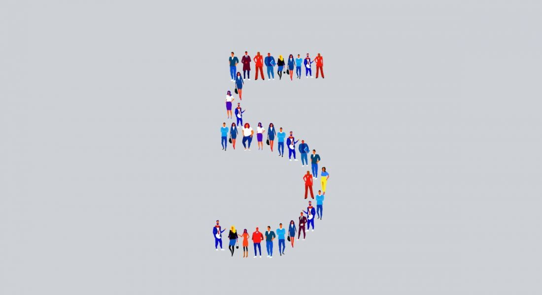 Illustration of a variety of people standing together to form the number five.