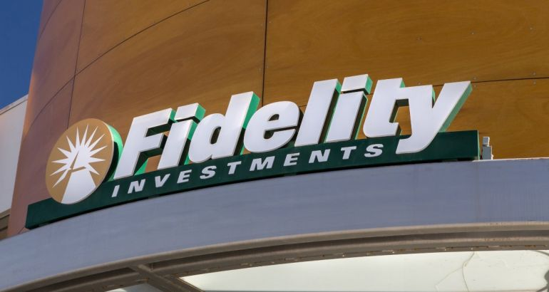 The Fidelity Investments logo across the entrance to a wood-panelled lobby.