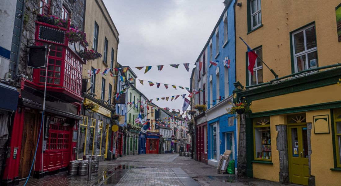 Photograph of Shop Street in Galway, Ireland.