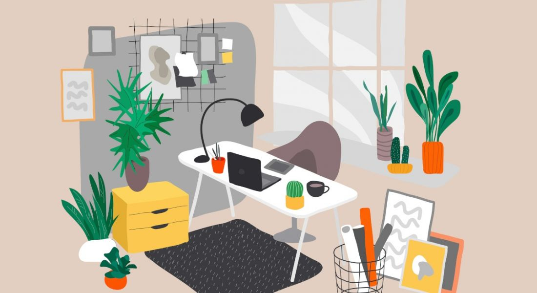 Illustration of a greener home office with multiple plants, a desk and a window letting in natural light.