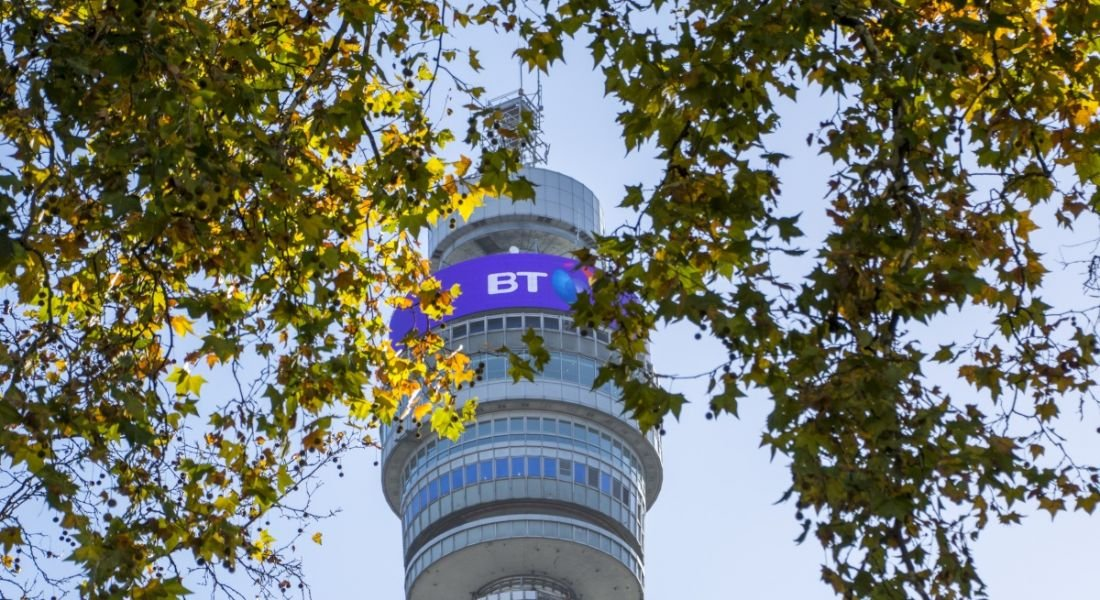 Photo of the BT Tower in London taken through foliage.