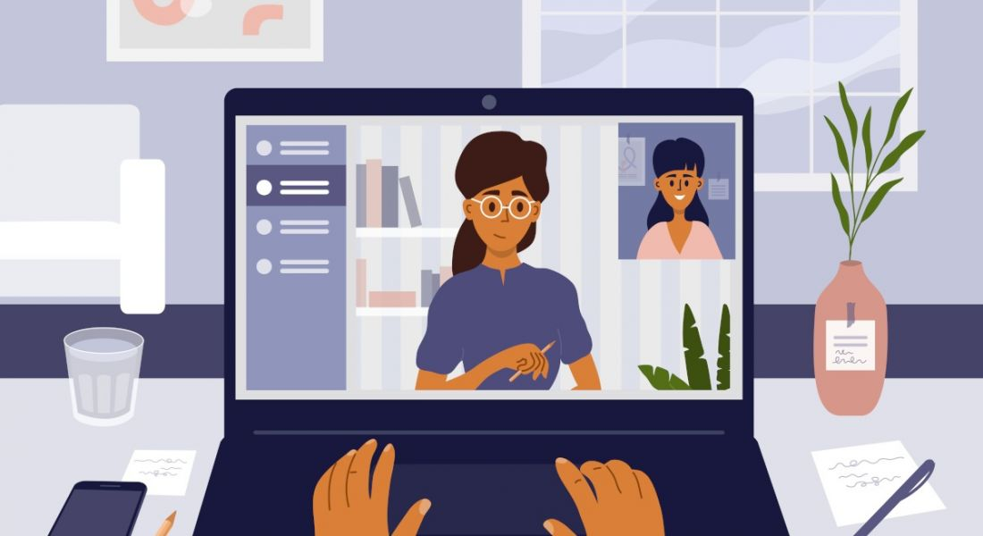 Illustration of a woman interviewing remotely on her laptop.