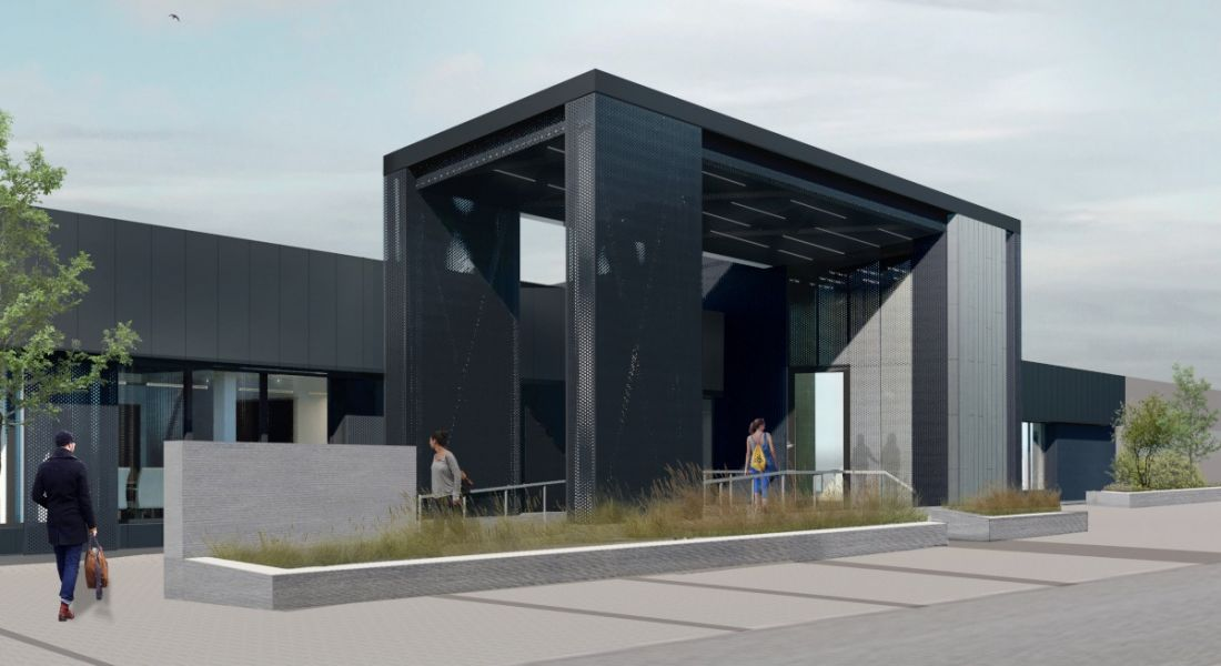 The HID Global centre of excellence in Galway. The building is modern and black.