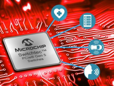 Illustration of a Microchip chip on a red circuit board, indicating how it can power medtech, communications and other technologies.