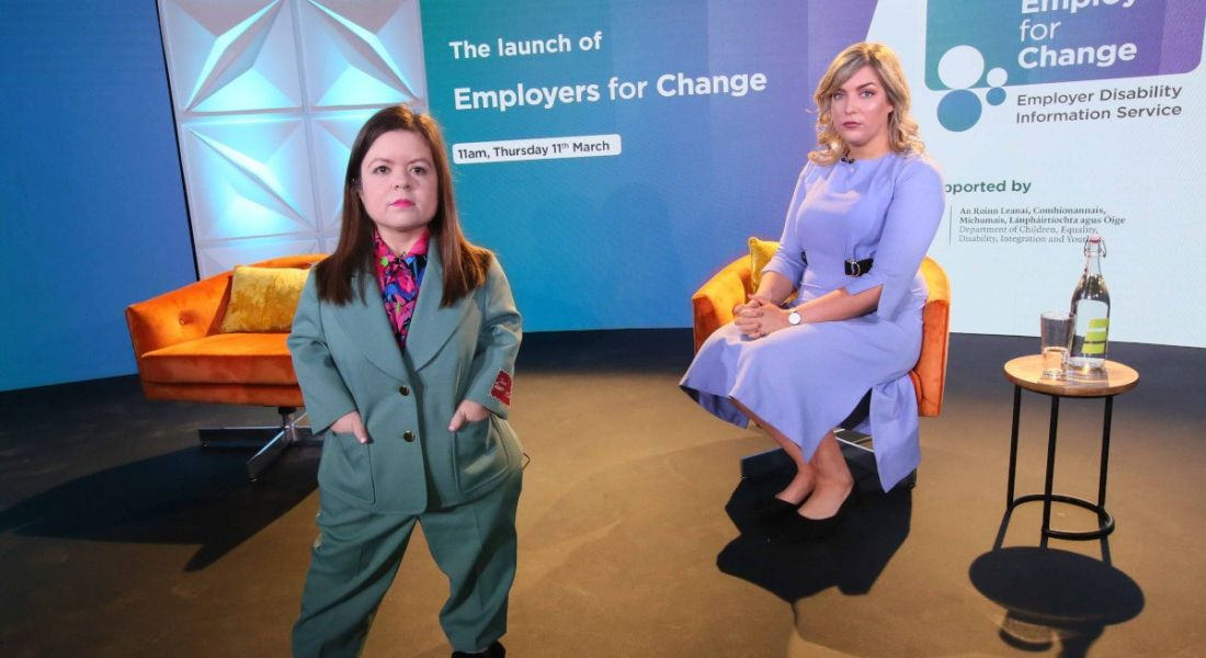 Photo of Sinéad Burke and Christabelle Feeney at the launch of Employers for Change.