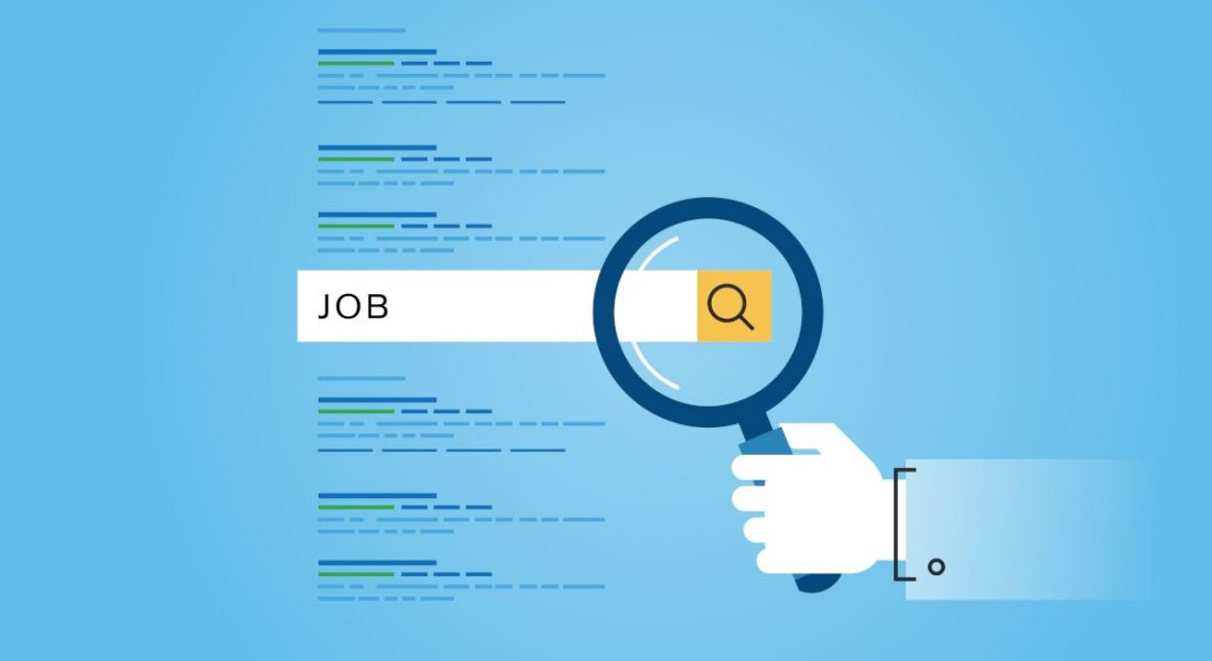 Illustration of a hand holding up a magnifying glass against job listings.