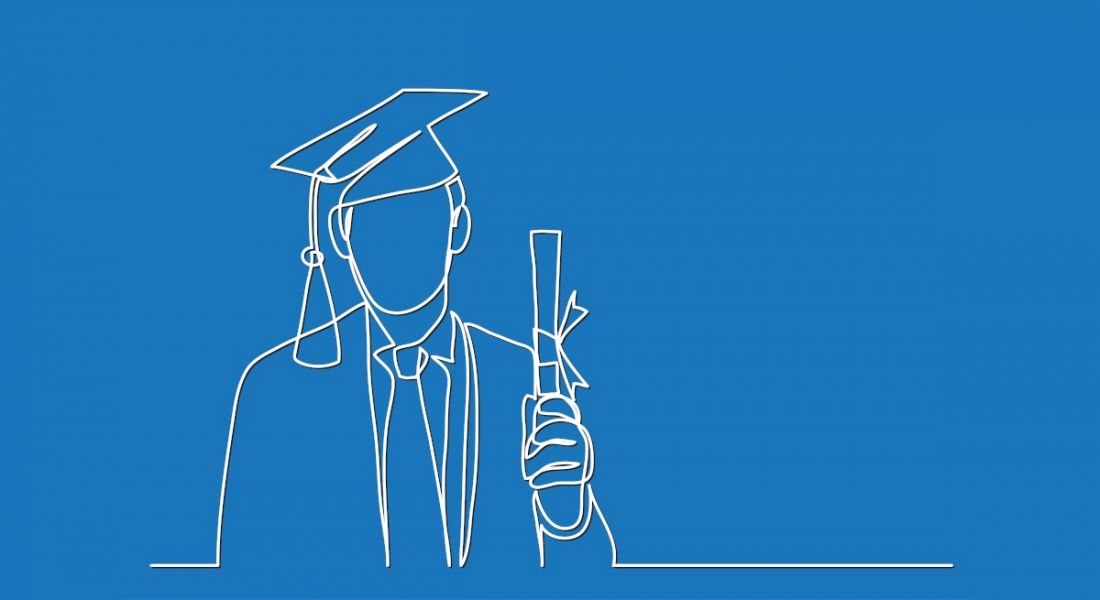 A line drawing of a man wearing graduate robes and holding a degree scroll.