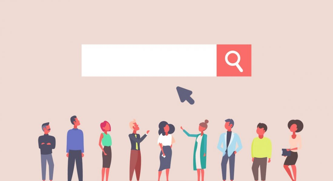 Illustration of people standing under a search bar, symbolising a job search.