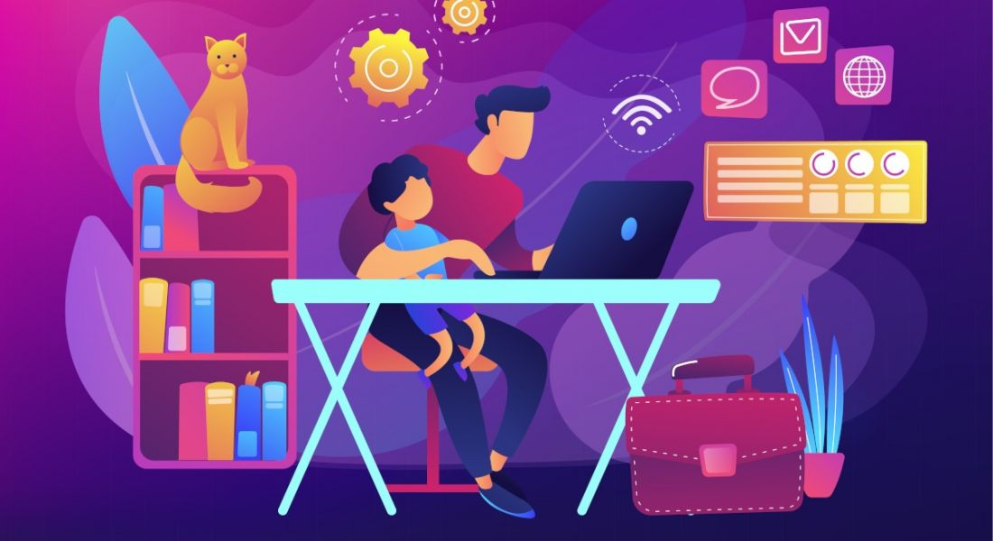 Illustration of a man working remotely with a child on his knee at his WFH set-up.