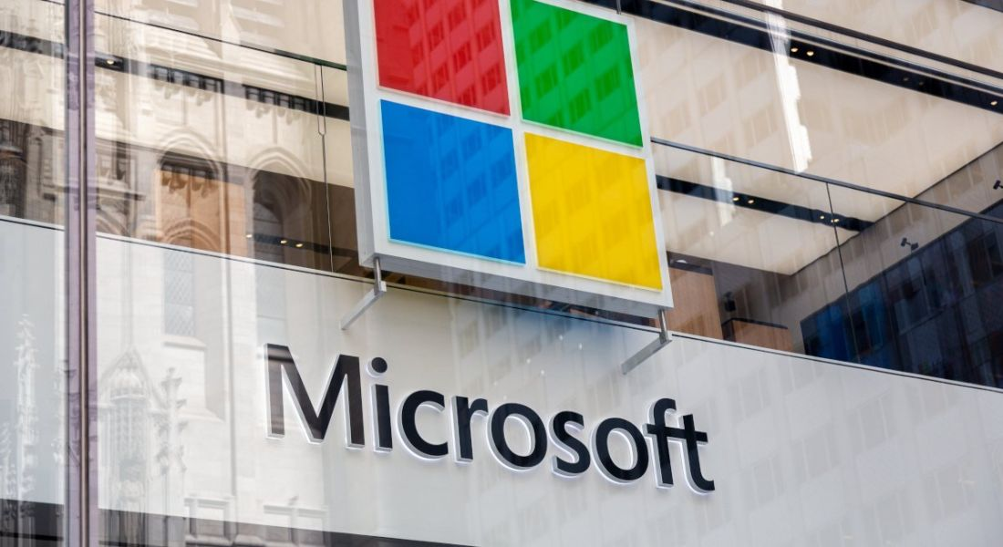 Microsoft branding on one of its office buildings.