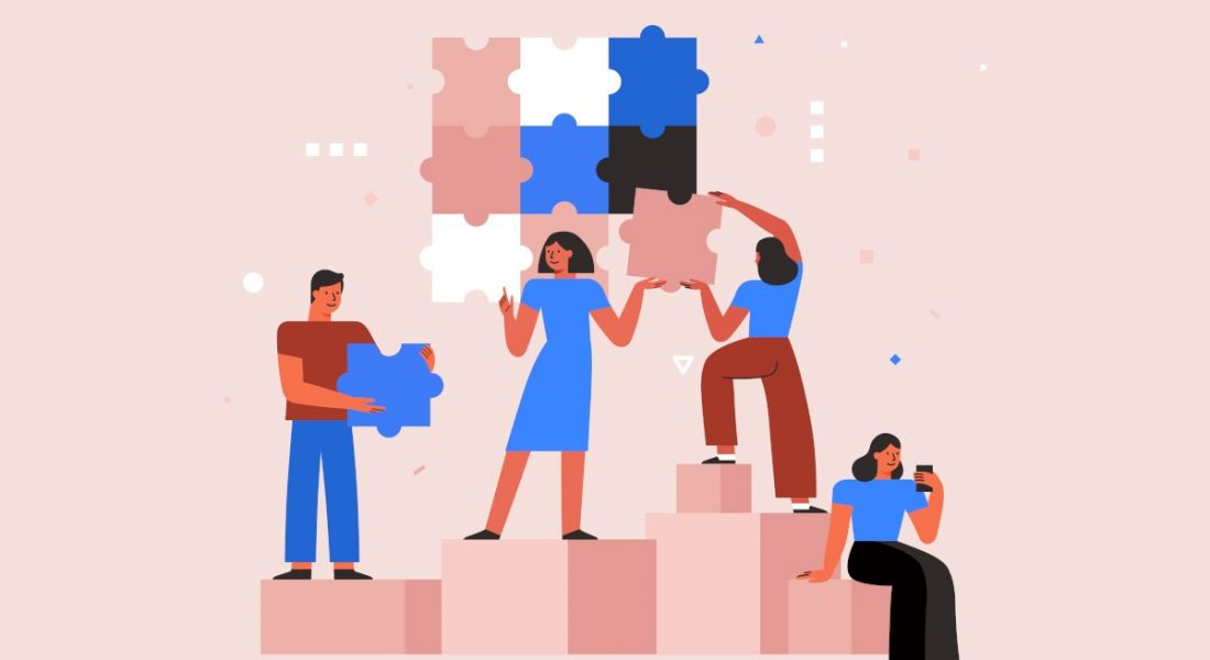 Illustration of a team working together with jigsaw pieces on a pink background, symbolising teamwork and collaboration tools.