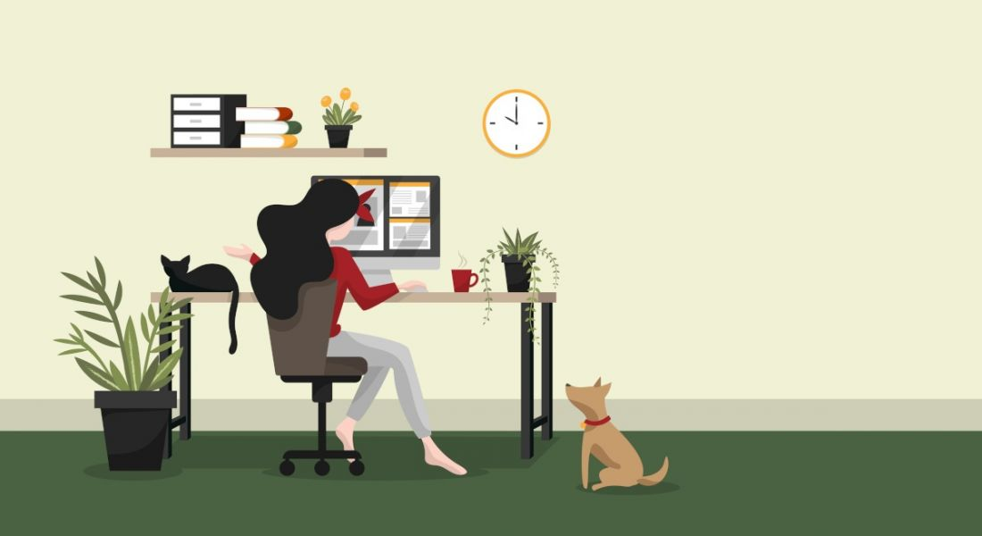 Illustration of a woman working and hiring from home at her desk in a green room with a pet dog.
