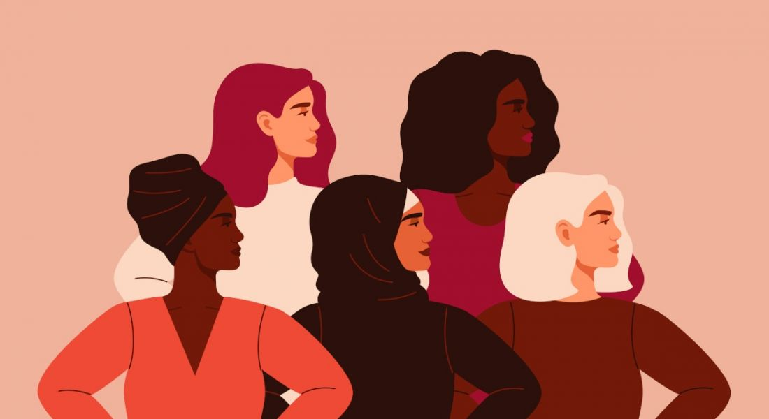 Illustration of five women standing with their hands on their hips looking to the right, representing women in STEM.