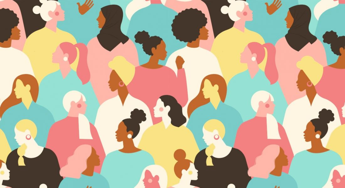 Illustration of a diverse group of women for International Women's Day.