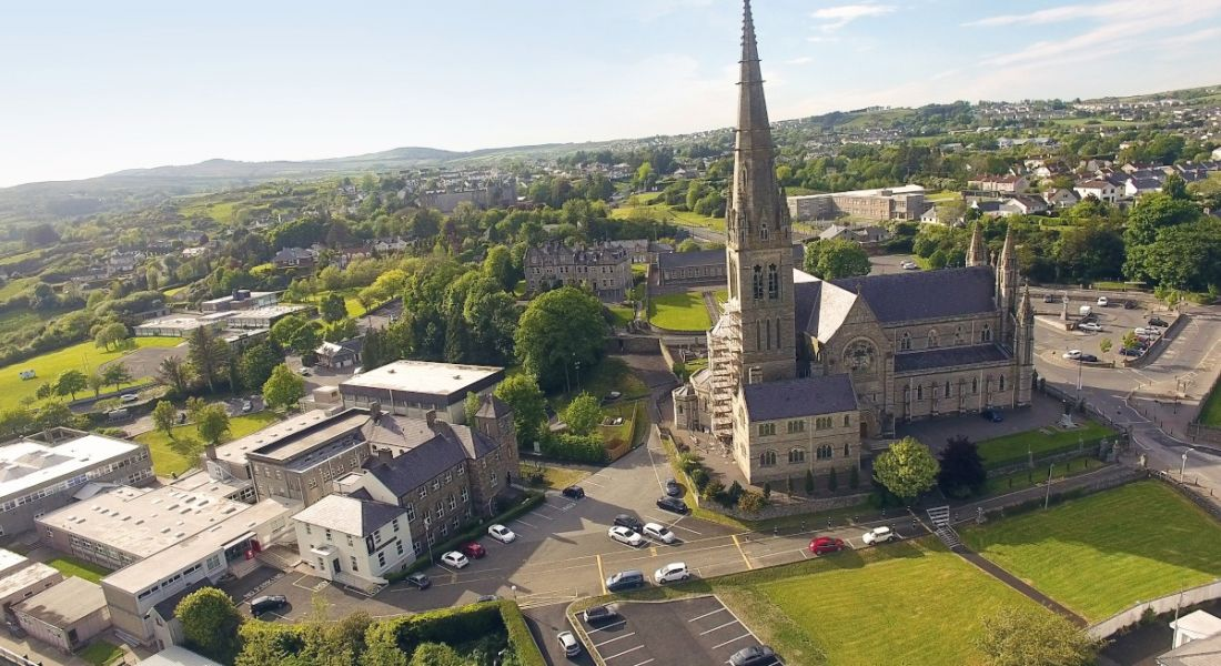 An aerial shot of the cathedral of St Eunan and St Columba in Letterkenny, Co Donegal on a sunny day.