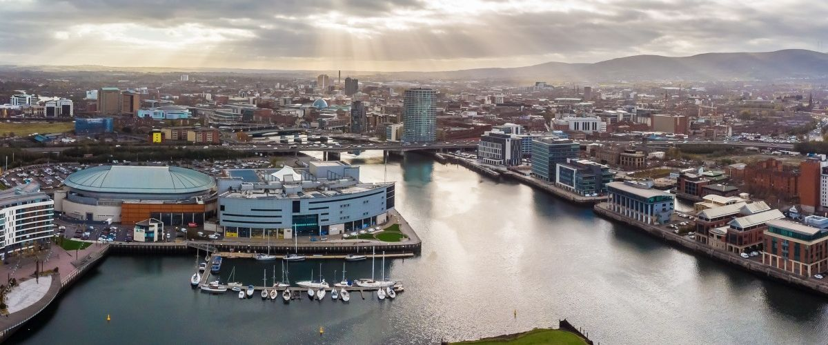 Aerial view of Belfast which is the location for Nisos' cybersecurity tech centre.