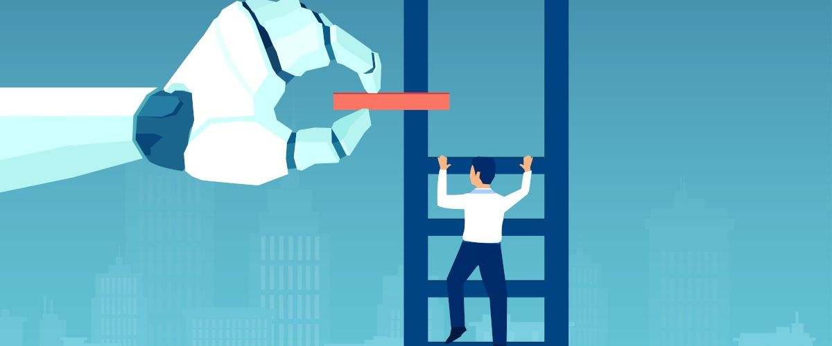 A cartoon image of a man in a suit climbing a ladder as a large, robotic hand places a new rung above his head, symbolising career progression.