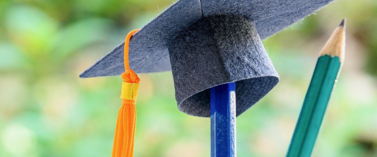 A small graduation cap sits on top of a blue pencil inside a jar beside another pencil against an out-of-focus background of greenery. It symbolises doctoral graduates.