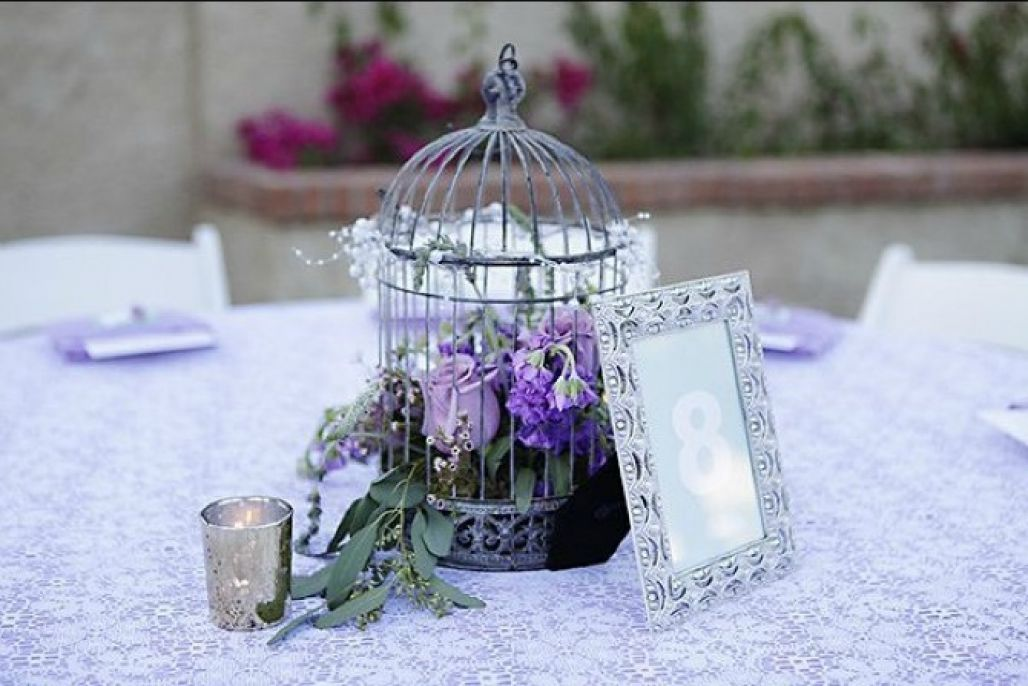 Purple Bird Cage Decor