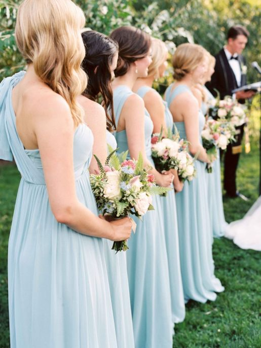 Blue Bridesmaids Dresses.