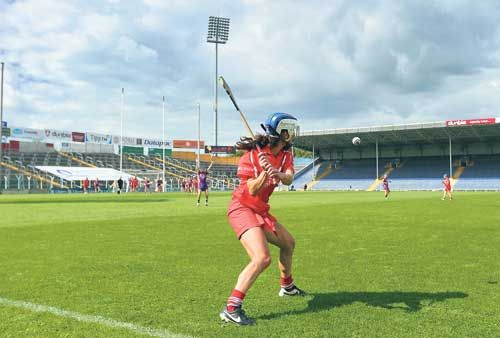 Action shot: Corks Jennifer OLeary strikes this free in the drawn All-Ireland semi-final against Wexford.