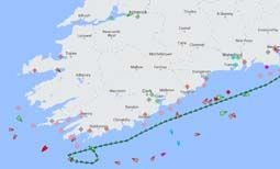 The erratic route of the Atlantic Companion this afternoon