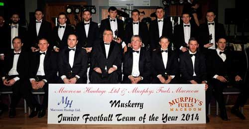 Players selected on the Muskerry Junior Football Team of 2014 pictured with JJ Long, Muskerry GAA Chairman, and Paddy Murphy, of sponsors Macroom Haulage and Murphys Fuels.