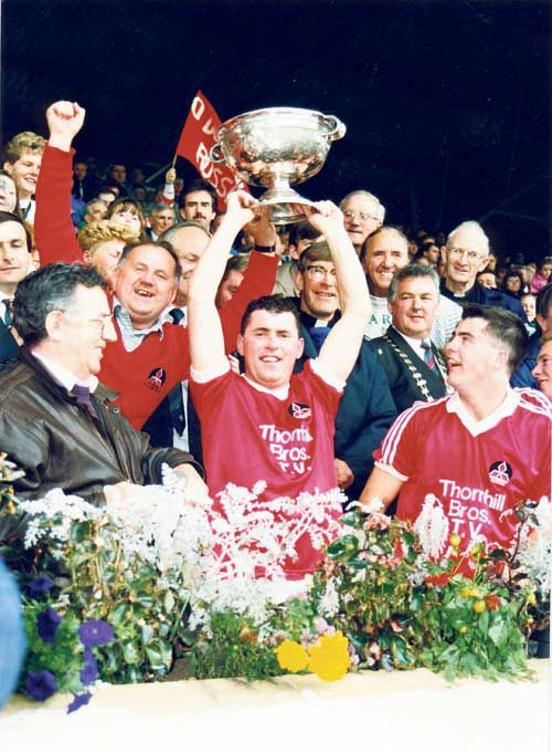 Legend: Mick McCarthy celebrates after ODonovan Rossa won the 1992 Cork SFC.