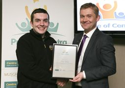 Eoin Hurley, finalist, receives his award from Matt O Callaghan, MRPI HR Director