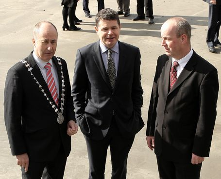At the meeting at Inchydoney Lodge & Spa today were, from left: county mayor Alan Coleman, Minister Paschal  Donohoe and FG TD Jim Daly. (Photo: Paddy Feen)
