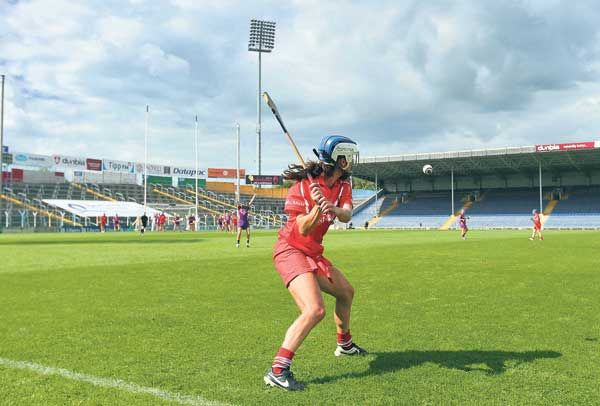 Not so fan-tastic: With an empty terrace and stand in the background (a regular sight at womens GAA games), Corks Jennifer OLeary takes a free with a late chance to win last seasons epic Liberty Insurance All-Ireland camogie championship semi-final ag