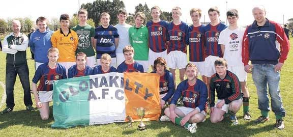 Sweet success: The Clonakilty AFC team that defeated Ardfield in the West Cork League U18 Cup final at Drinagh on Sunday.