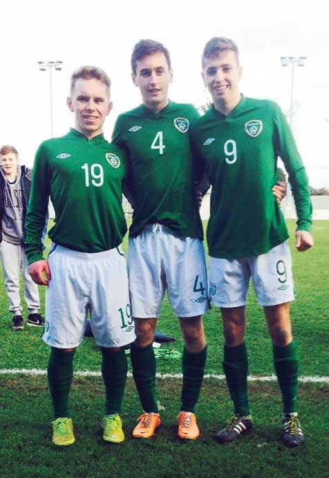 Boys in green: Dunmanways Mark Buckley, Blarneys Conor McCarthy and Kealkils Connor Ellis played their part in Irelands fantastic Centenary Shield success.