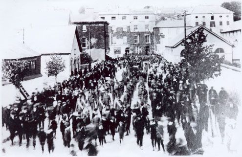 Original photo of Kinsale funeral procession.  (Photo courtesy: Dermot Ryan)