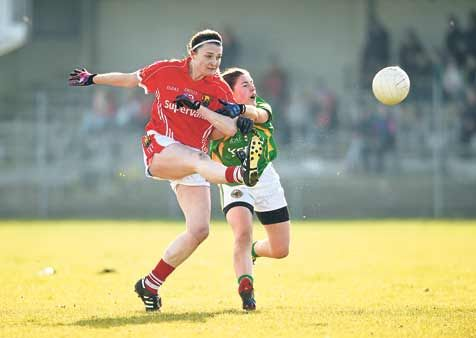 Derby delight: Corks Annie Walsh kicked 0-1 in the ladies football league semi-final win against Kerry on Sunday.