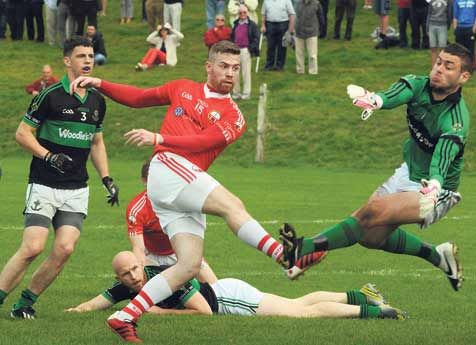 Action shot: ODonovan Rossa forward Colin Crowley gets in a shot at goal in the fourth-round Cork SFC tie against Nemo Rangers last September.