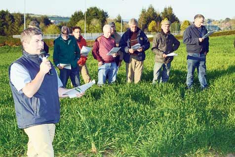 Pictured at a Teagasc Spring Crop Walk on the land of Calvert and Keith Smith at Bandon Grammar School were  clockwise from above  speaker Tim ODonovan, Teagasc tillage specialist, addressing some of the attendance; Millie Kershaw looking on and agri