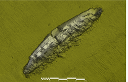 Sonar imagery released by the Dept this week showing the wreck on the seabed