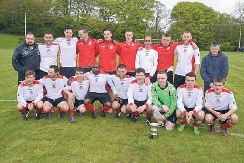 Champions! Bandon celebrate after clinching the Munster Senior League Division 1 title after their win against Mayfield United on Saturday.