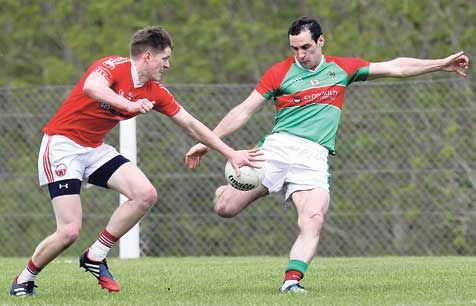 Hands on: ODonovan Rossas Donal Óg Hodnett blocks a shot from Clonakiltys Dave ORegan during the Cork SFC round two game at Rosscarbery on Sunday.