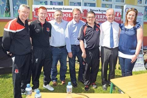 launching the forthcoming Liverpool Legends v Drinagh Rangers Legends match at Drinagh on Monday were true Liverpool legend Ronnie Whelan (centre) with  from left  Declan Deasy, Micheal John Doolan, David Hall, event organiser; Don Hurley, Jim Daly TD a